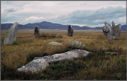 Группа менгиров на окраине Минусинской котловины. Хакасия