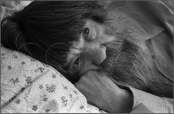 Последний портрет Егора Селиванова - наивного художника из Кузбасса. Урологическое отделение горбольницы г. Белово. 15.01.1988