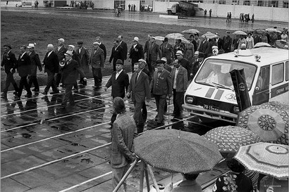 Репетиция парада ветеранов перед городским юбилеем. Стадион Металлург. Новокузнецк. 3.07.1981