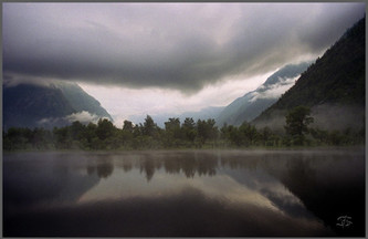Дневной туман в устье Чулышмана. Горный Алтай. 9.07.2005