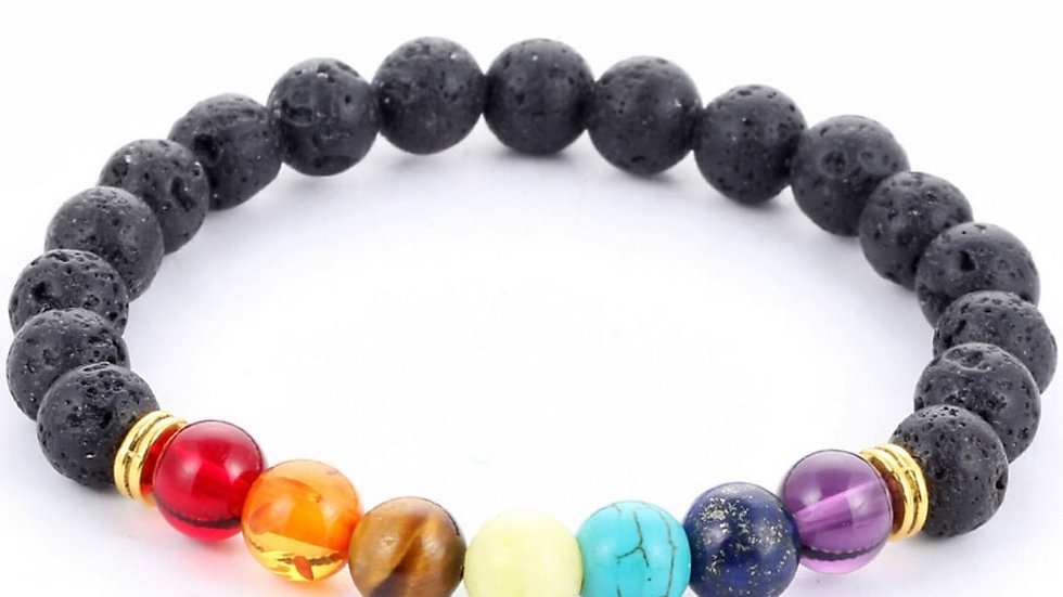 Chakra bracelet with your intention- with lava beads to infuse essential oils