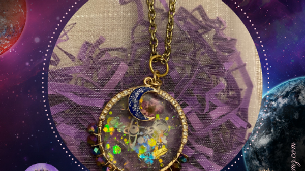 Cosmic/3d/Necklace/Charm/resin jewelry/gift ideas