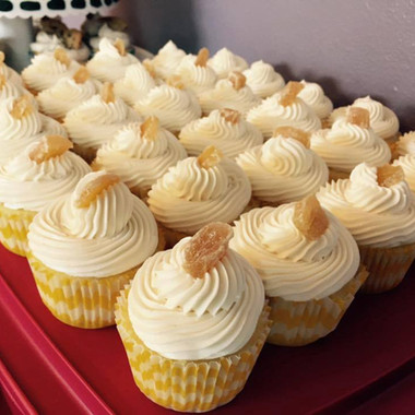 Lemon cupcakes with honey ginger buttercream