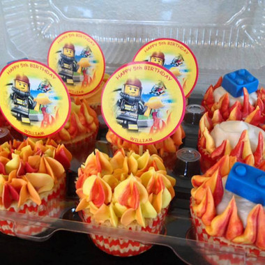 Lego City Fire inspired cupcakes