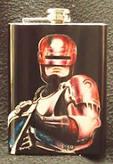 Hand painted Robocop on 10oz hip Flask