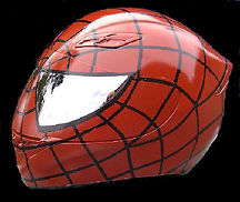 Airbrush Spiderman crash helmet with mirrored eyes