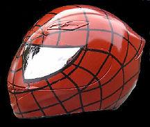 Airbrush Spiderman crash helmet with mirrored eyes