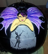 Tinkerbell and Peter Pan hand painted work over crash helmet