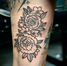 Neotraditional Line Work Floral Tattoo