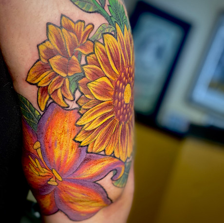 Neotraditional Floral Half Sleeve pt. 3