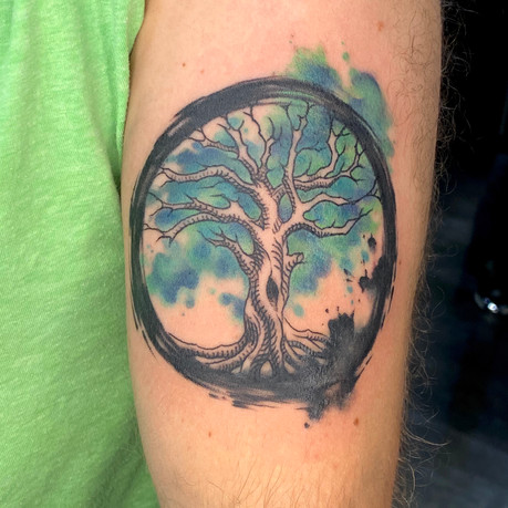 Artsy Style Watercolor and Ink Tree Of Life Tattoo