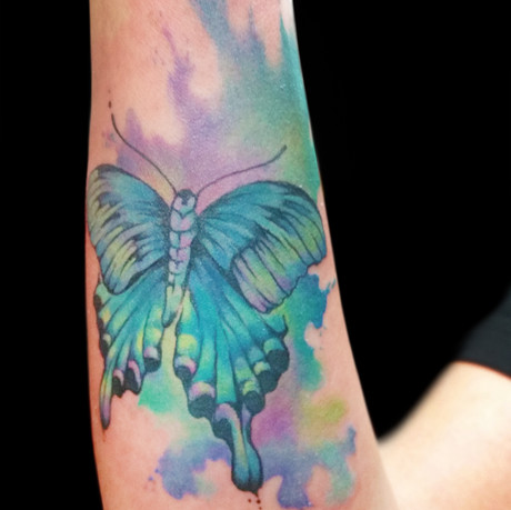 Watercolor Peacock Butterfly Tattoo