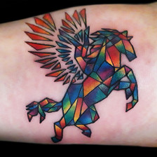 Stained Glass Rainbow Pegasus