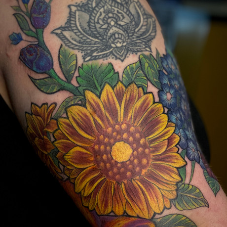 Neotraditional Floral Half Sleeve pt. 4