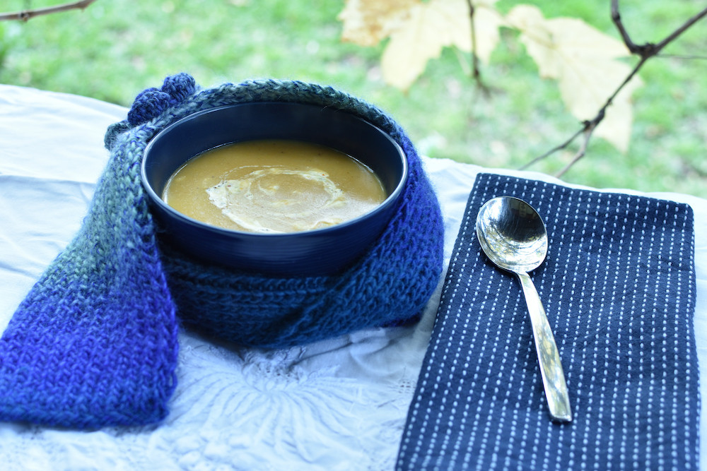 The combination of pumpkin and sweet potato, seasoned with garlic and ginger, then garnished with a swirl of creamy plant-based yoghurt, is the perfect soup for a cold rainy night.   This soup is a great source of potassium and beta-carotene that are necessary for healthy functioning immune cells.