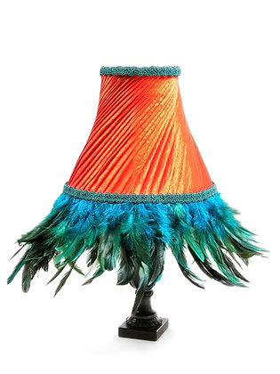 Flaming Juno swathed table lampshade