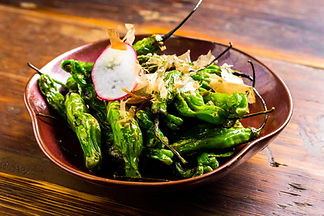 Shishito Peppers soy with dried bonito flakes