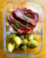 Vegan baked ham 😏 mash and roasted brus
