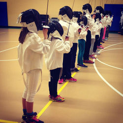 Scouts learning the fencing salute