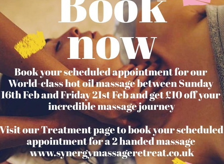 Come and unwind on a Hot Oil Massage Journey Monday 17th Feb to Friday 21st Feb and get £10