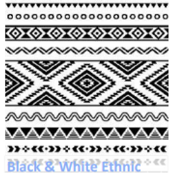 Black and White Ethnic Luncheon Napkin