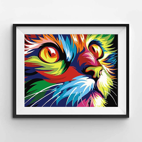 Abstract and Modern Colorful Cat - Paint By Numbers