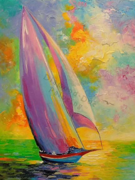 Diamond Dot Painting - Colorful Sailboat