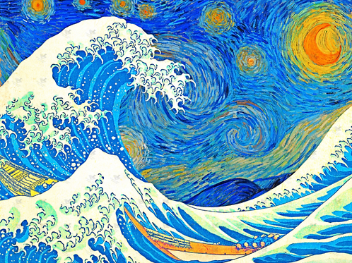 Diamond Dot Painting - Sparkly Tsunami Starry Night