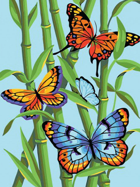 Diamond Dot Painting - Butterflies in the Bamboo
