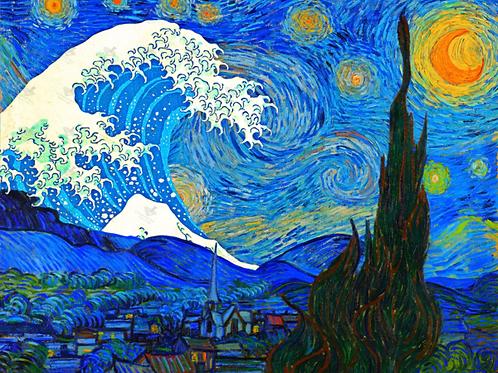 Diamond Dot Painting - Starry Night The Wave Remix