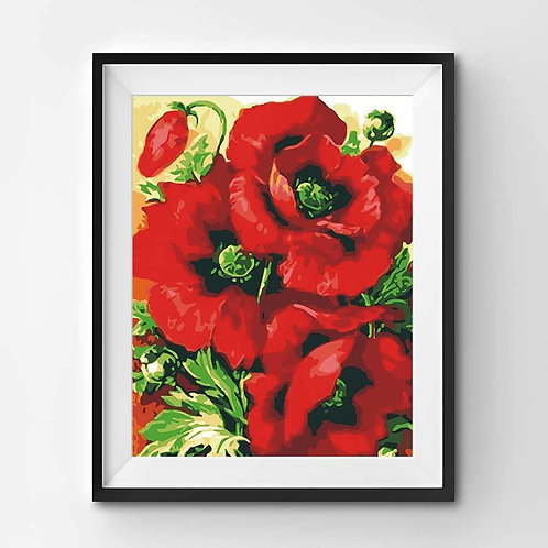 Beautiful Red Poppies - Paint By Numbers