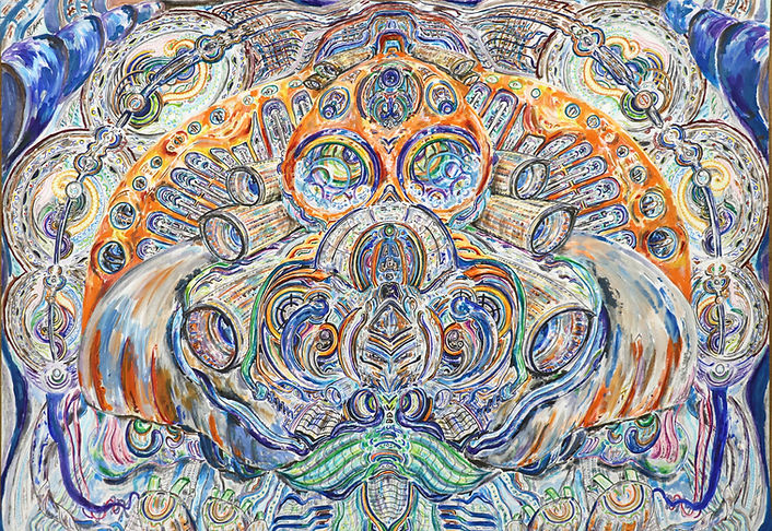 'Sectorize' created by Sareth Gavage Art. Orignal psychedelic abstract art piece, 2020