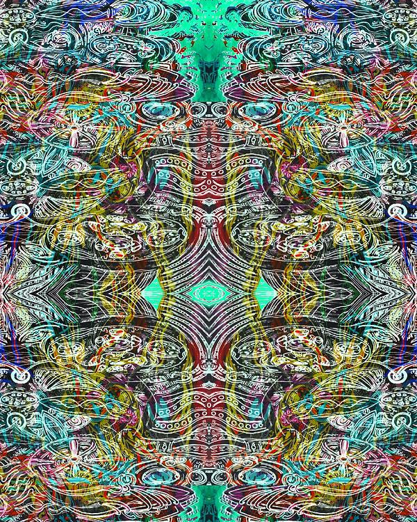 ''Running the Blades'' Digital psychedelic Art piece, created in 2019 by Sareth Gavage Art