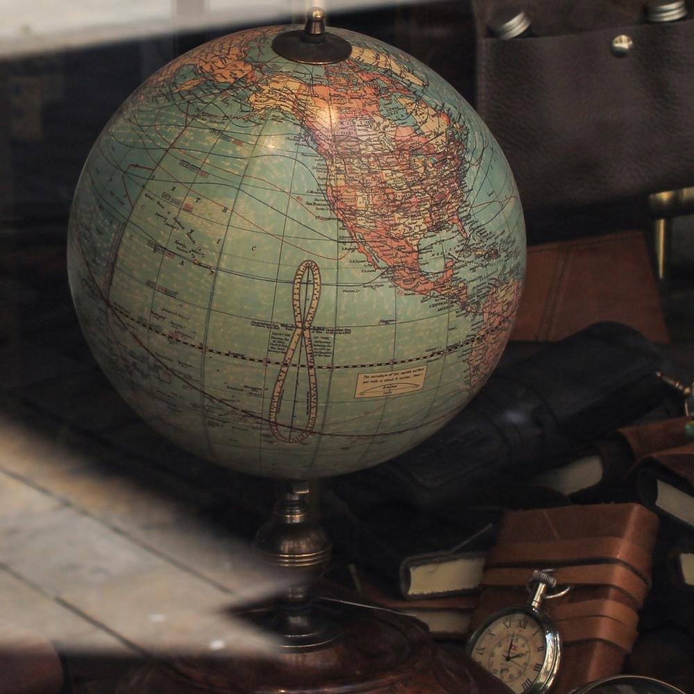Globe in office window