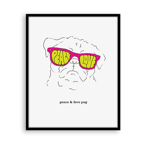Peace and Love Pug 8x8 Art Print