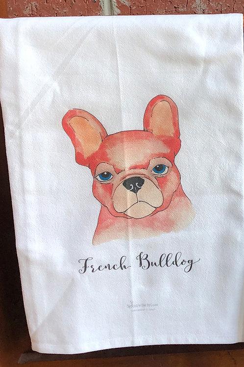 French Bulldog Watercolor Tea Towel