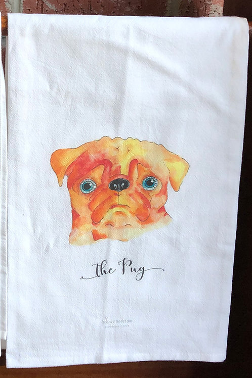 Pug Watercolor Dog Tea Towel