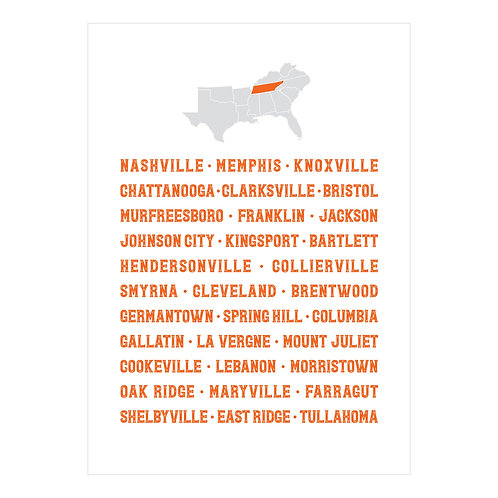 Tennessee Cities Notecard
