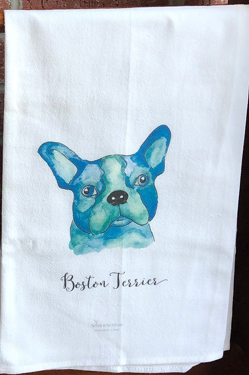 Boston Terrier Watercolor Dog Tea Towel
