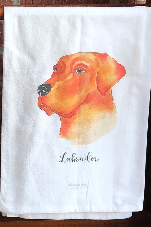 Labrador Watercolor Dog Tea Towel