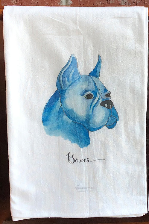 Boxer Watercolor Dog Tea Towel