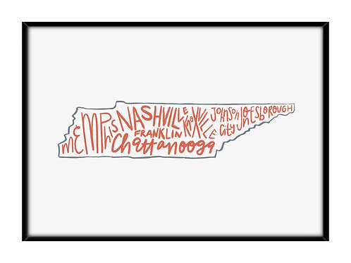 5X7 Framed Tennessee Cities Print