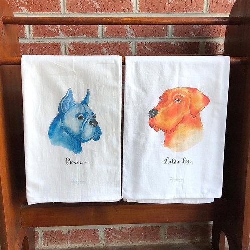 Watercolor Dog Tea Towels