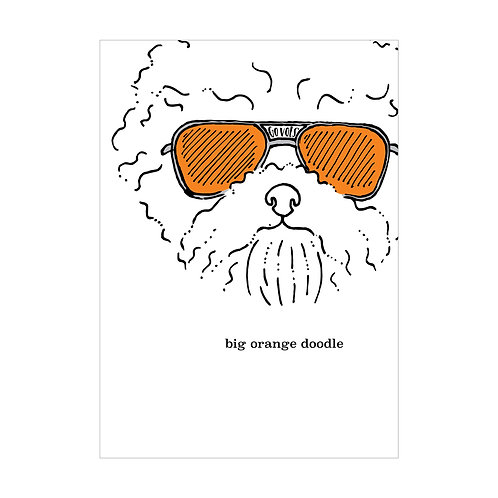 Big Orange Doodle Greeting Card
