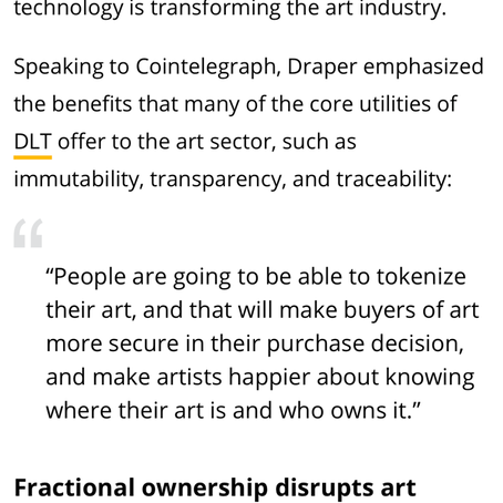 Tokenizing Art article