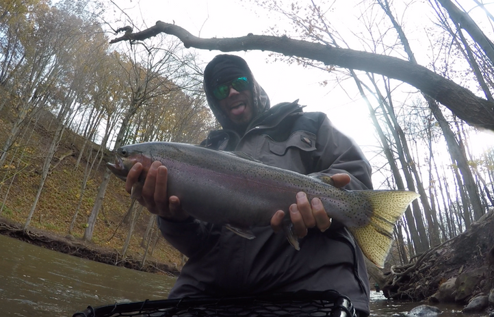 Lake Ontario tributary brown trout steelhead fly fishing guided tour oak orchard_Queen City Guiding