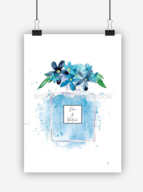 Blue Fashion Art Print Perfume Bottle