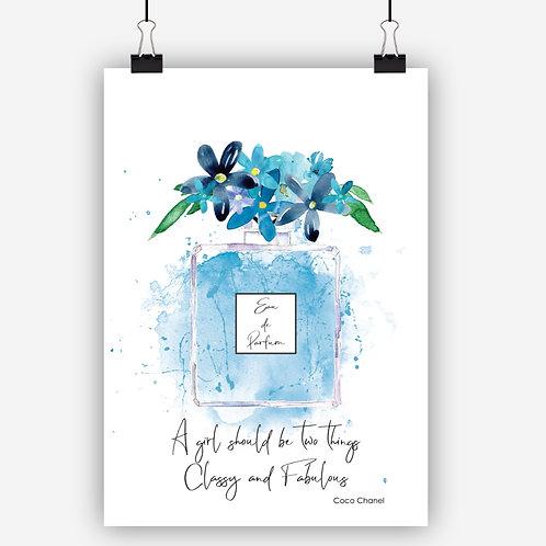 Blue Fashion Art Print 'Classy'