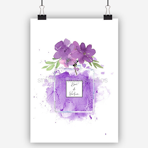 Purple Fashion Art Print Perfume Bottle