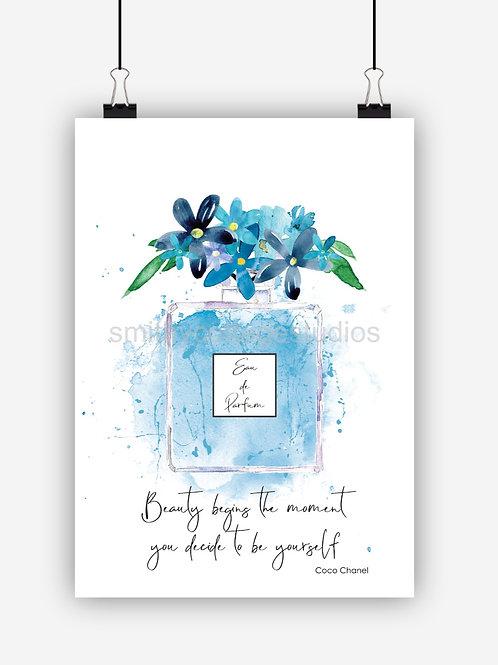 Blue Fashion Art Print 'Beauty'